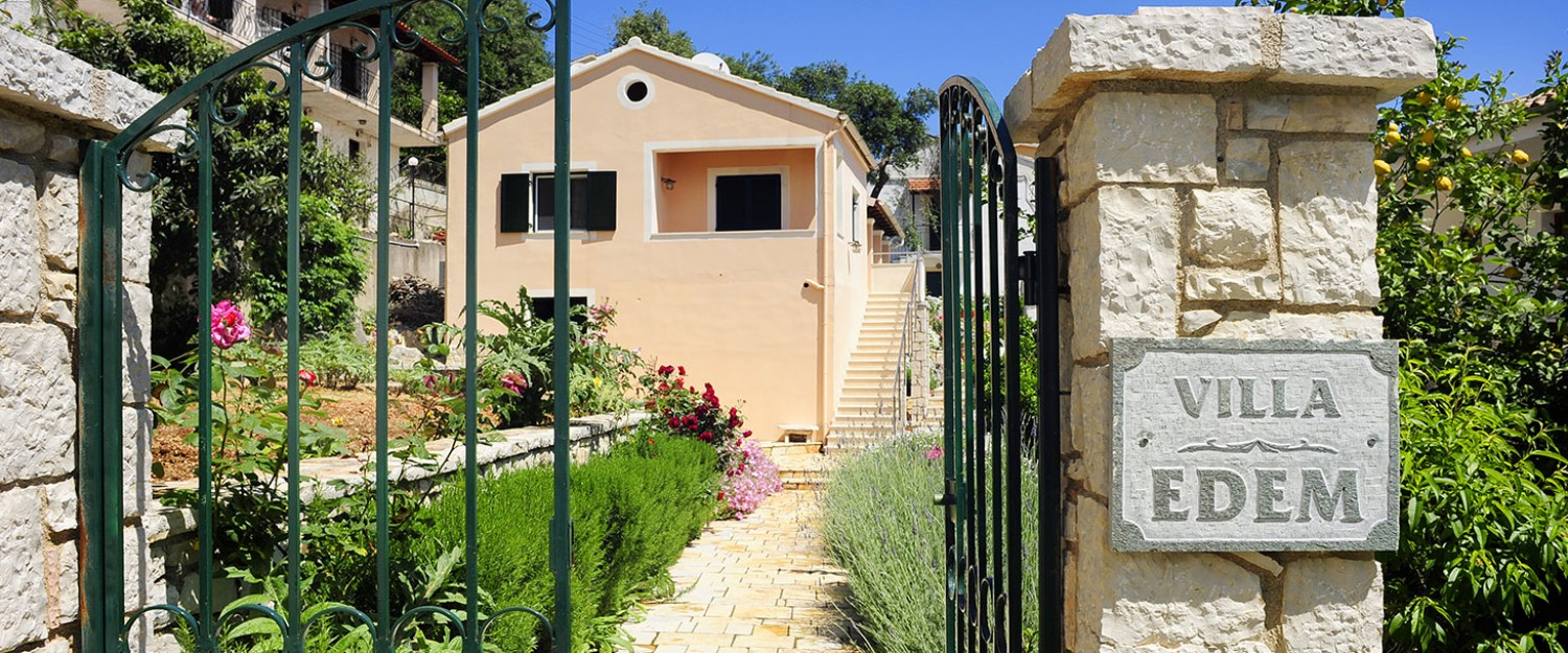 The entrance of Villa Edem in Kassiopi Corfu Greece